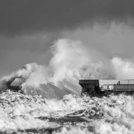 STORM AT SEA - Waves attack the sea coast and pier in Kolobrzeg