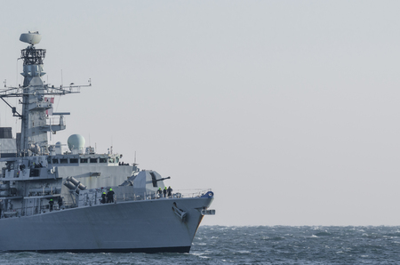 WARSHIP - Shapely frigate on a patrol in the sea