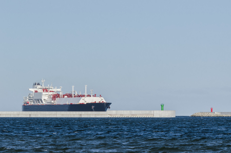 LNG TANKER - A large ship on the water of Swinoujscie