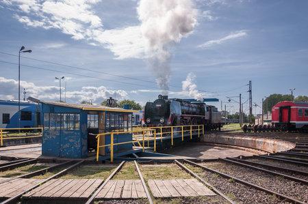 KOLOBRZEG, WEST POMERANIAN / POLAND: Steam locomotive