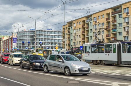 SZCZECIN, WEST POMERANIAN / POLAND- 2018: Car and tram traffic at the center of the big city