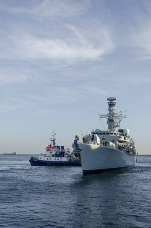 GDYNIA, POMERANIA / POLAND - 2018: The British HMS Westminster are getting ready for mooring Éditoriale