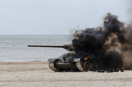 TANK ON THE SEA BEACH - Destroyed vehicle in Kolobrzeg.