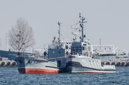 GDYNIA, POMERANIAN REGION  POLAND - 2019: The auxiliary warships of the Polish Navy maneuver in the port