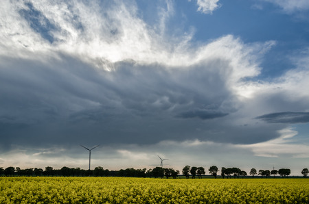 CLOUDS IN THE SKY - Stormy weather over rape fields Stock Photo