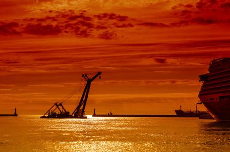 SEA CRANE AND CRUISE SHIP - A floating floating bridge, a mantis and moored passenger ship