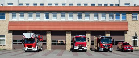 FIRE BRIGADE - Rescue vehicles in front of the fire station building in Kolobrzeg