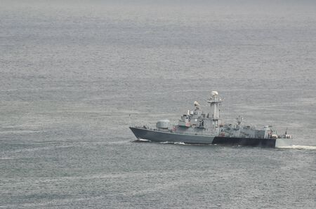 MISSILE SHIP - Warship on the patrol of the sea zone Imagens