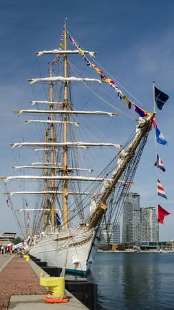 GDYNIA, POMERANIAN REGION  POLAND - 2019: Brazilian CISNE BRANCO sailing ship at the representative port quay on Kosciuszko Square