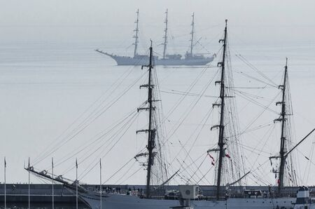 SAILING VESSELS - Polish and Brazilian beautiful frigates in the waters of the Gulf of Gdansk Stok Fotoğraf
