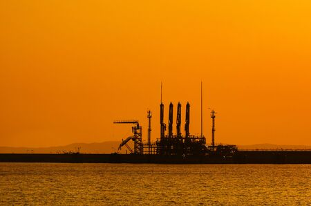 LNG TERMINAL - Hot morning over the seaport infrastructure Reklamní fotografie