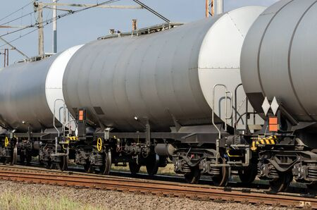 RAILWAY TRANSPORT - Tank wagons for the transport of chemical and oil materials Banco de Imagens