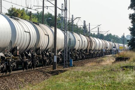 RAILWAY TRANSPORT - Tank wagons for the transport of chemical and oil materials Stock fotó - 130738407