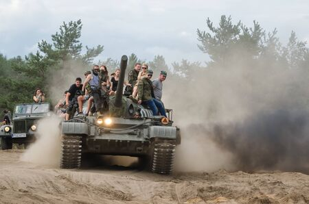 BORNE SULINOWO, WEST POMERANIAN  POLAND - 2019: Tank T55 - crazy ride on an old military vehicle