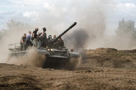 BORNE SULINOWO, WEST POMERANIAN / POLAND - 2019: Tank T55 - crazy ride on an old military vehicle Stock fotó - 131611824