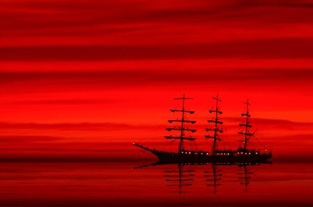 FRIGATE AND SUNSET - Evening dream of a beautiful sailing ship at sea