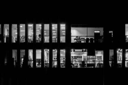 BUILDING AT NIGHT - Industrial city landscape Stock fotó