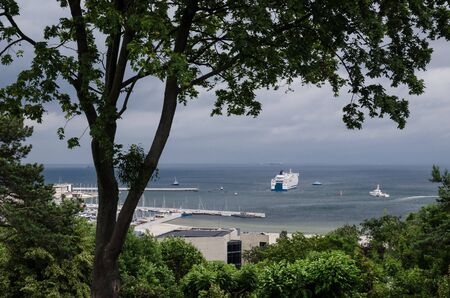 PASSENGER FERRY AT THE SEA SHORE - Ships and boats on the bay 写真素材