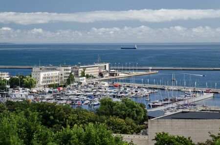 MARINA AND SEAPORT - Sunny day on the bay and the sea coast in Gdynia