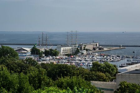 MARINA, SEAPORT AND SAILING VESSELS - Sunny day on the bay and sea coast in Gdynia