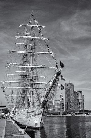 GDYNIA, POMERANIAN REGION  POLAND - 2019: Brazilian CISNE BRANCO sailing ship at the representative port quay on Kosciuszko Square