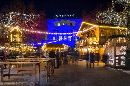 POZNAN  POLAND - 2019: An atmospheric Christmas market in the evening illumination