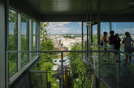 GDYNIA, POMERANIAN REGION  POLAND - 2019: People at viewpoint are watching the city landscape