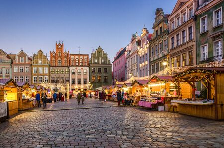 POZNAN  POLAND - 2019: Christmas decorations and Christmas market on the town hall square