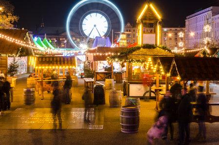 POZNAN  POLAND - 2019: Inhabitants of the city at Christmas market