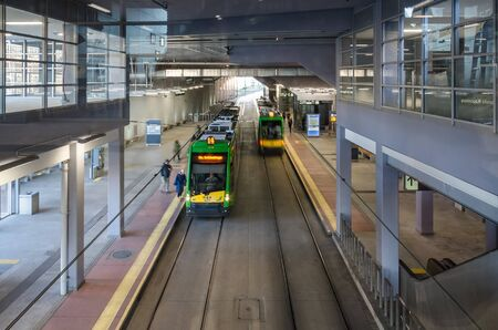 POZNAN  POLAND - 2019: Trams at the underground station in the city center