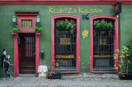 POZNAN  POLAND - 2019: Stylish Pub in a historic tenement house on a side street Editöryel