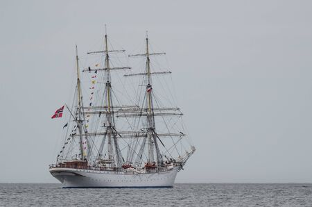 SAILING SHIP - Beautiful three masted barque at sea