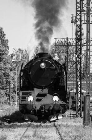 STEAM LOCOMOTIVE - Historic machine on a railway siding