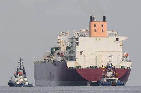 LNG TANKER - The beautiful ship flows in tug insurance