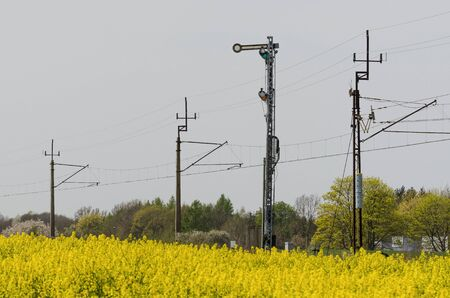 SEMAPHORE - Railway track among agricultural fields