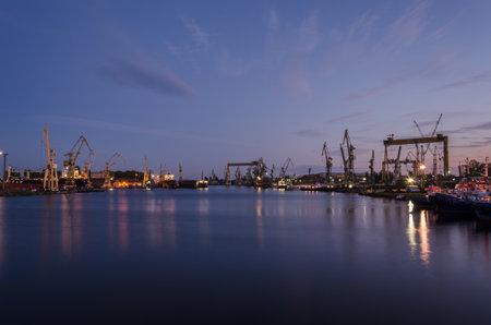 SZCZECIN, WEST POMERANIAN / POLAND - 2020: Docks, cranes, slipways and shipyard quays