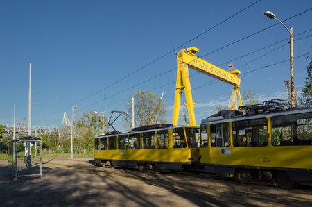 SZCZECIN, WEST POMERANIAN / POLAND - 2020: Public transport in the industrial area of port city and shipbuilding