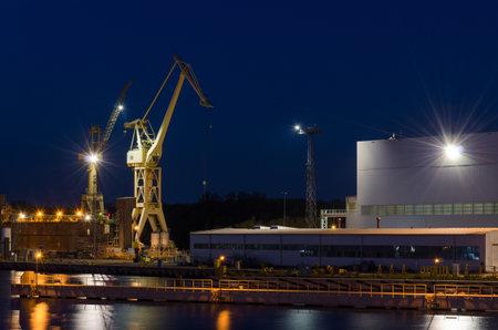 SZCZECIN, WEST POMERANIAN / POLAND - 2020: Equipment and infrastructure of the shipyard quays