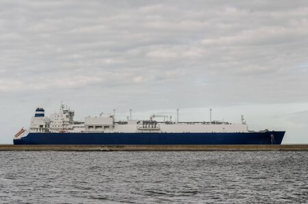 LNG TANKER - The majestic ship goes to the seaport with gas