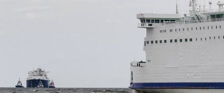 MARITIME TRANSPORT - Passenger ferry and LNG tanker on the sea route Stock fotó