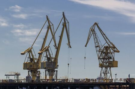 SHIPYARD AND SEAPORT - A set of port cranes at the port repair and reloading quays