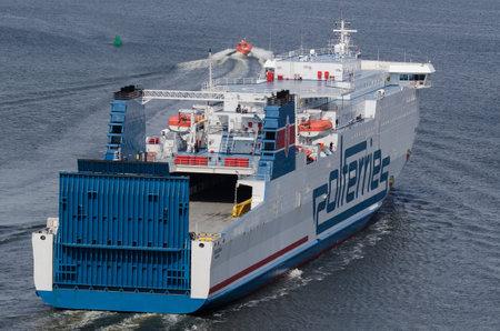 SWINOUJSCIE, WEST POMERANIAN / POLAND - 2020: The CRACOVIA passenger ferry sails on the sea Editorial