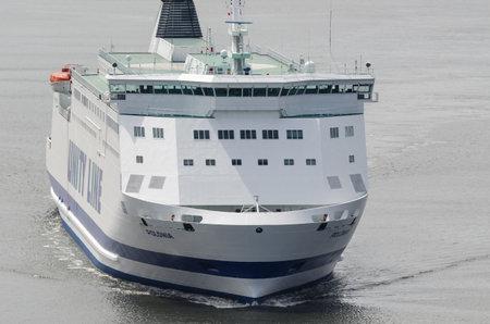 SWINOUJSCIE, WEST POMERANIAN / POLAND - 2020: The POLONIA passenger ferry sails on the sea Editorial