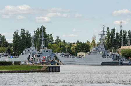 SWINOUJSCIE, WEST POMERANIAN / POLAND - 2020: Polish warships moored to the quays at the naval base