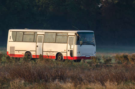 WEST POMERANIAN / POLAND - 2020: The school bus takes children to school