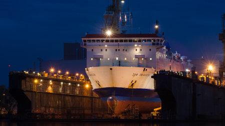 SZCZECIN, WEST POMERANIAN / POLAND - 2020: Passenger ferry at the shipyard in a dry repair dock