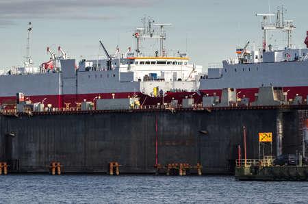 SHIPYARD - Ships in a floating repair dock