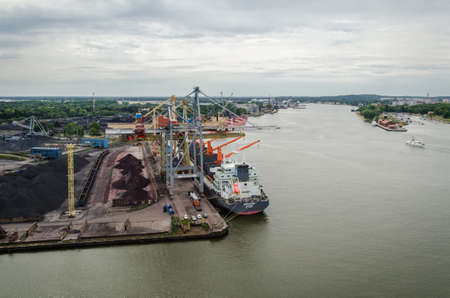 SWINOUJSCIE, WEST POMERANIAN - POLAND - 2020: Sea port transshipment terminals and quays
