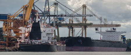 BULK CARRIERS - Merchant ships unloaded at transhipment quays in seaport