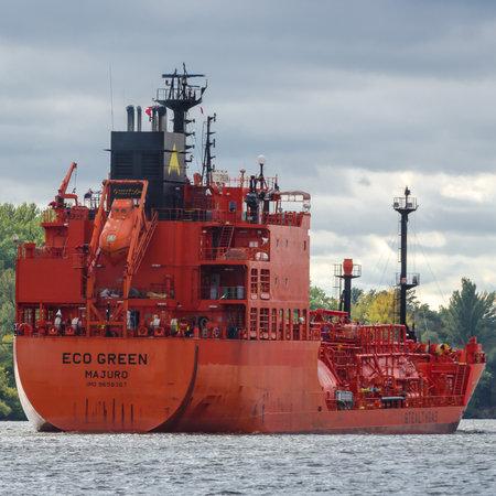 SZCZECIN, WEST POMERANIAN - POLAND - 2020: Lpg tanker sails to the gas terminal in the seaport